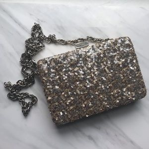 WHBM Silver Gold Sequined Clutch Evening Bag